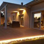 bandeau led, spots led, terrasse bois